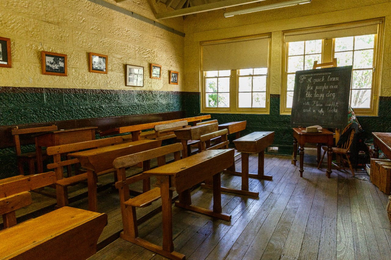 picture of inside 1878 classroom